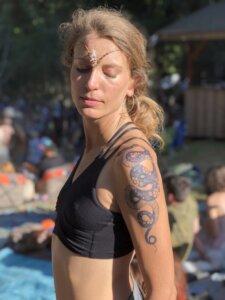 Jagua tattoo stain snake design on female shoulder/upper arm