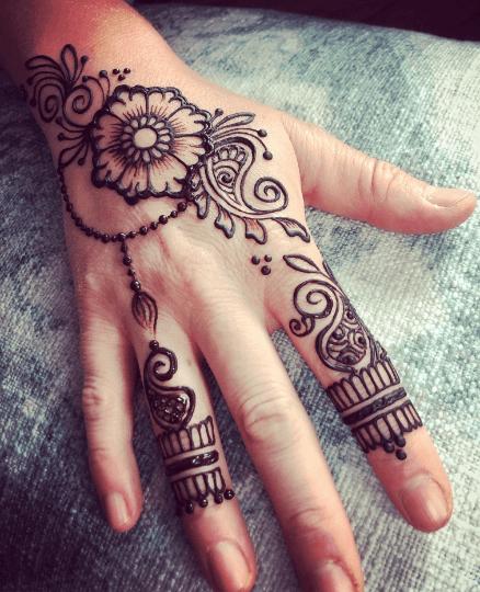 Henna tattoo floral paisley hand design sample