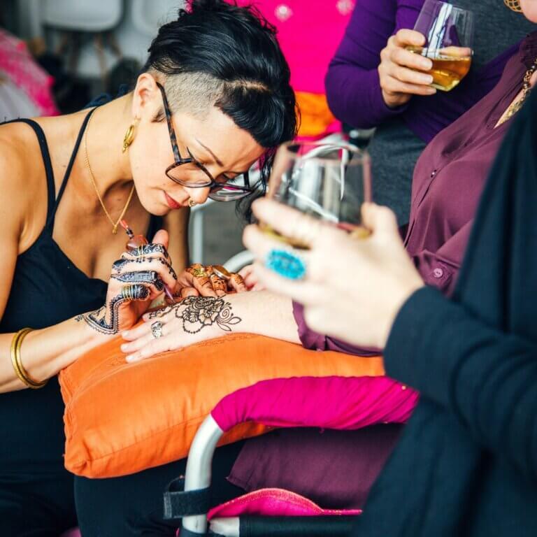 Melanie Ooi - Blue Lotus Henna Owner and Lead Artist event setting