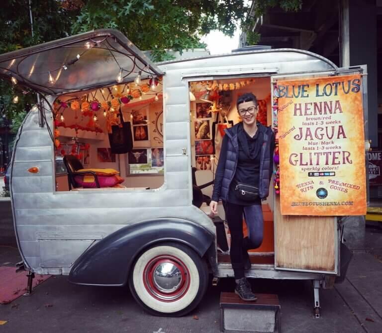 Blue Lotus Henna Little Darling Trailer at Portland Saturday Market