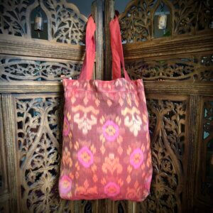 Pink and orange Balinese tote bag