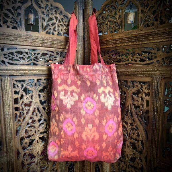 Pink and orange Balinese tote bag