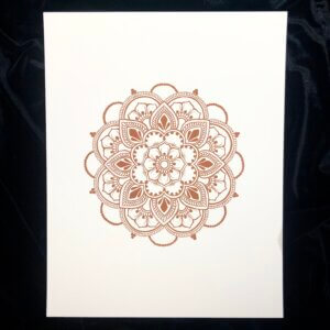 Print of henna mandala in henna colored ink