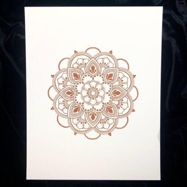 Print of henna mandala in henna colored ink