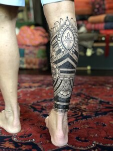 Jagua tattoo male calf sleeve back of leg