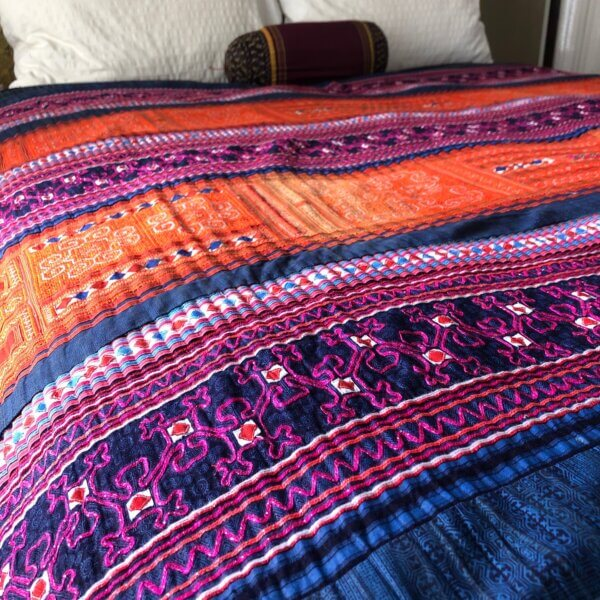 Multi-colored Hmong textile bedspread