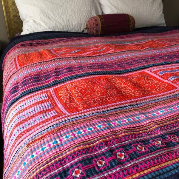 Mutli-colored Hmong textile bedspread