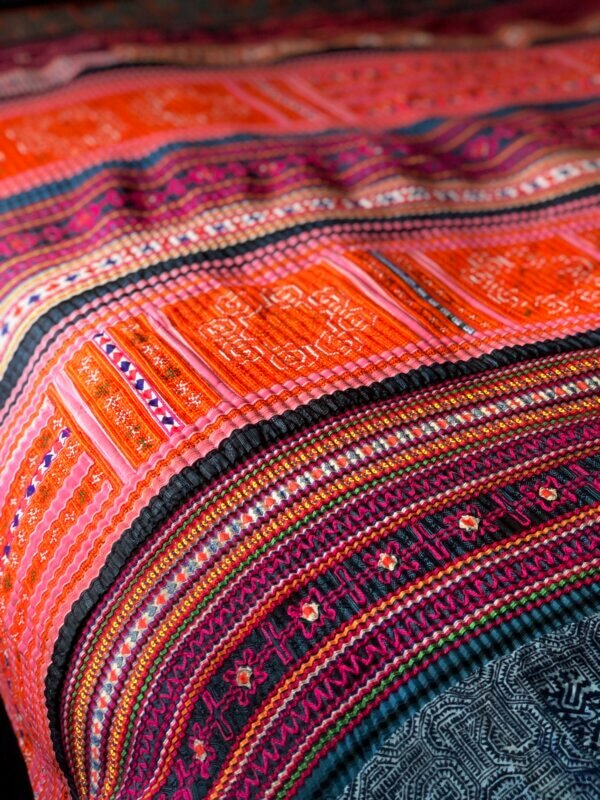 Multi-colored Hmong textile bedspread