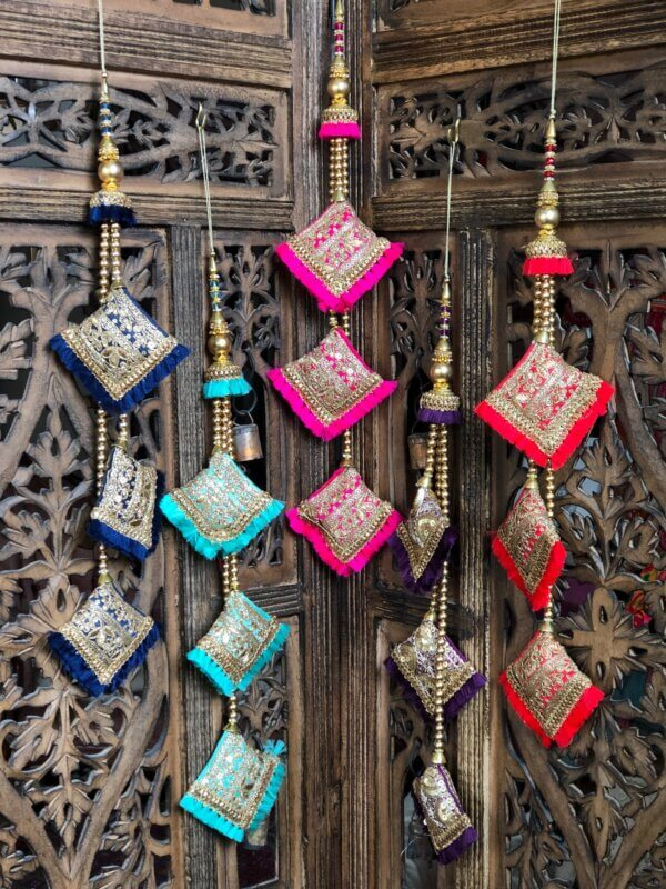 multi-colored Indian bauble decorations
