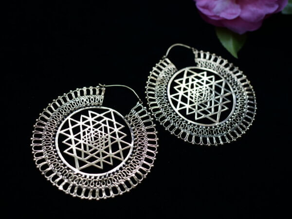 Brass Sri Yantra earrings