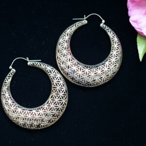 Brass hoop earrings with the flower of life pattern