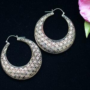 Brass hoop earrings with the flower of life pattern
