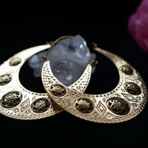 Tribal brass moon earrings with seed of life pattern