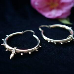 """Brass Indian """"tribal"""" earrings in hoop shape"""
