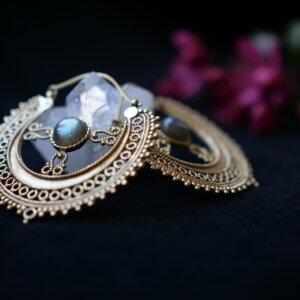 Intricate brass earrings with labradorite gemstone
