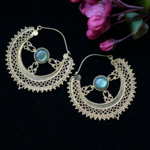 Intricate brass earrings with labradorite gemstone