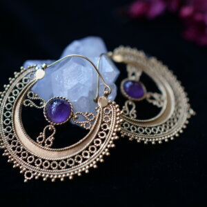 Intricate Indian brass earrings with amethyst gemstone