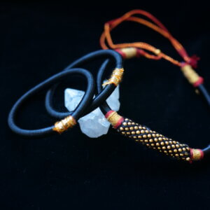 Black hand wrapped thread choker necklace and bangles