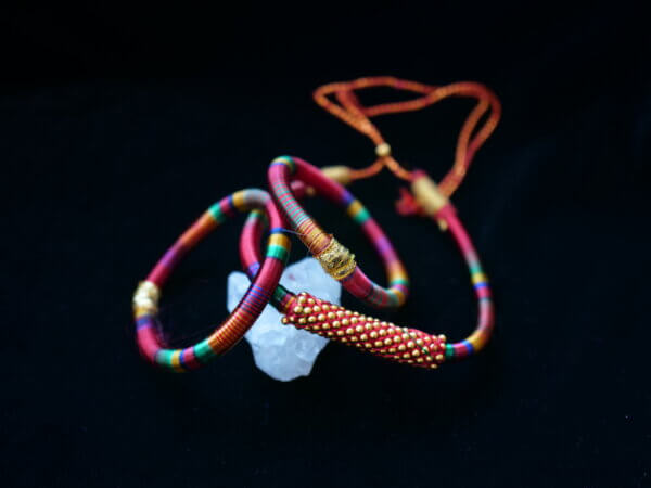 Red and multi colored hand wrapped thread choker necklace and bangles