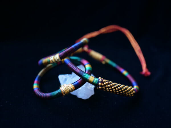 Multi colored hand wrapped thread chocker necklace and bangles