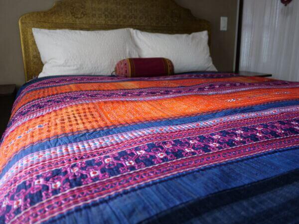 Multi colored Hmong textile bedspread