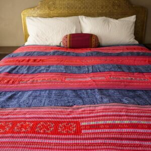 Mulit-colored Hmong textile bedspread