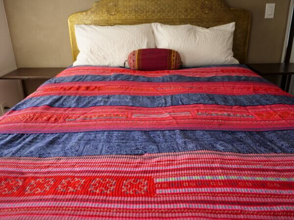 Mulit-colored Hmong textile bedspread