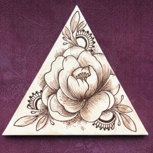 triangular canvas with peony painted in henna paste