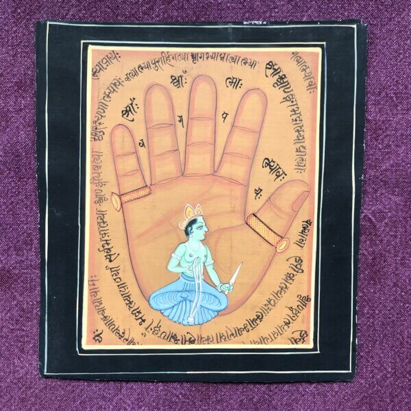 painting of a hand with a small Indian god sitting in it's palm