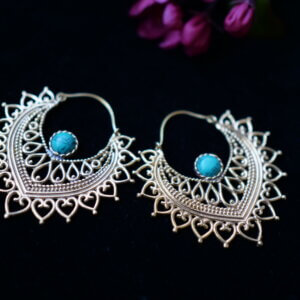 Turquoise and brass Indian earrings in petal shape with mehndi style details