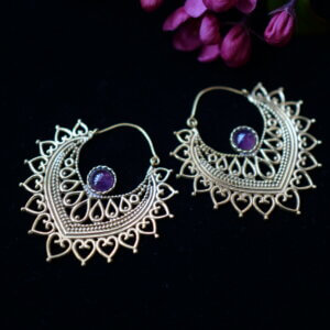 Amethyst earrings set in brass shaped like a lotus petal with mehndi style designs