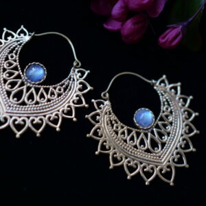 labradorite and brass earrings in petal shape with mehndi style designs
