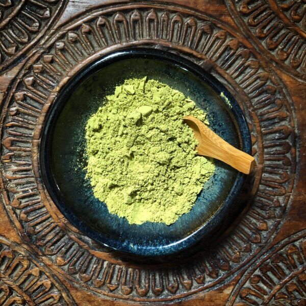 Dish of fine henna powder