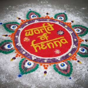 Indian Rangoli folk art with World of Henna written in it